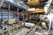 Au sein de l'usine de Bessé-sur-Braye (Sarthe) du papetiers Arjowiggins, le 27 mars.